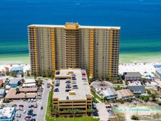 From the air-Front of Treasure Island Resort on beach and Gulf of Mexico