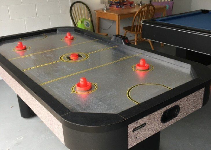 And of course there is an action-packed air hockey table...