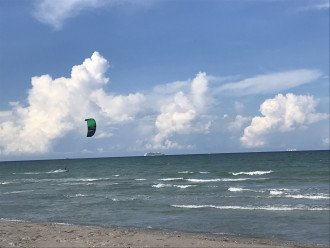 The wind surfers are fun to watch, note the cruise ship leaving port Canaveral.