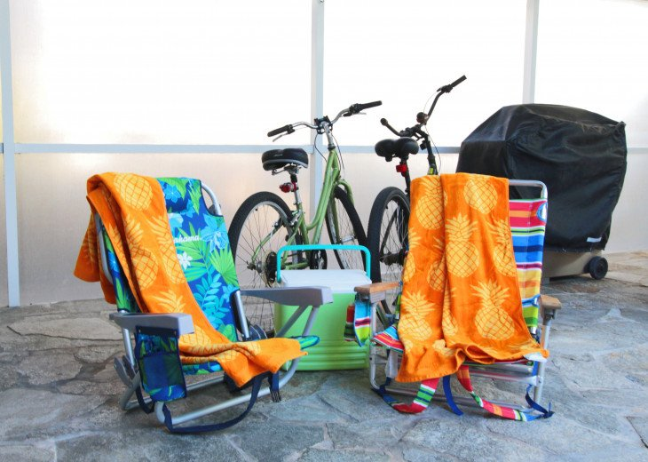 You have two bicycles, cooler and beach chairs and towels to have fun with.