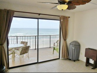 View from Living Room w/ Electric Grill you can use on our Large Private Balcony