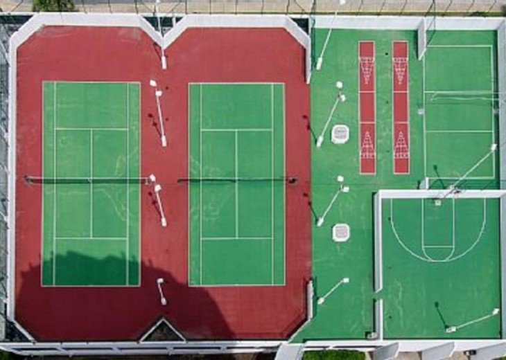 Sports Deck Lighted Tennis Courts Basketball & Schuffle Board 1st Floor