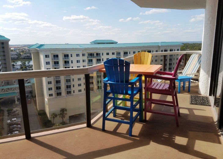 Large Balcony Facing the Bay All new Patio Furniture