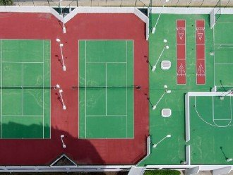 Sports Deck Lighted Tennis Court, Basketball and Schuffle Board