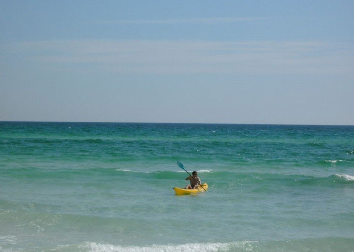 Rent a Kayak from the Beach attendant and have fun on the water.