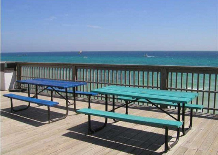 The Beach tower top floor has picnic tables for you to enjoy a snack/beverage