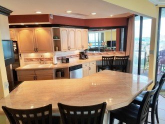 2 snack bar's seat 6 in this opened kitchen great for a large family