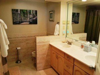 Private Master bathroom tub/shower combo 2 sinks all linens are supplied