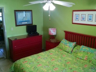 Ground floor apt. beachside BR w/door into streetside BR; Washer/Dryer; deck