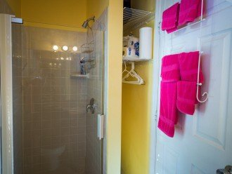 Shower and linen closet in guest cottage.