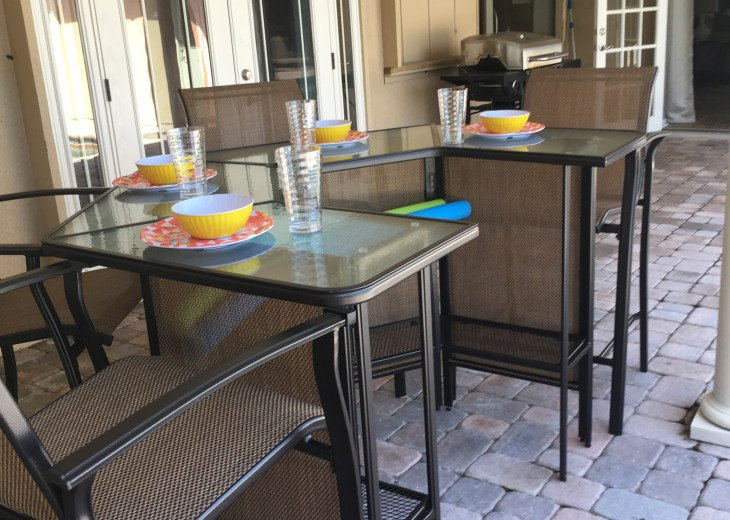 patio furniture and dishes for your use