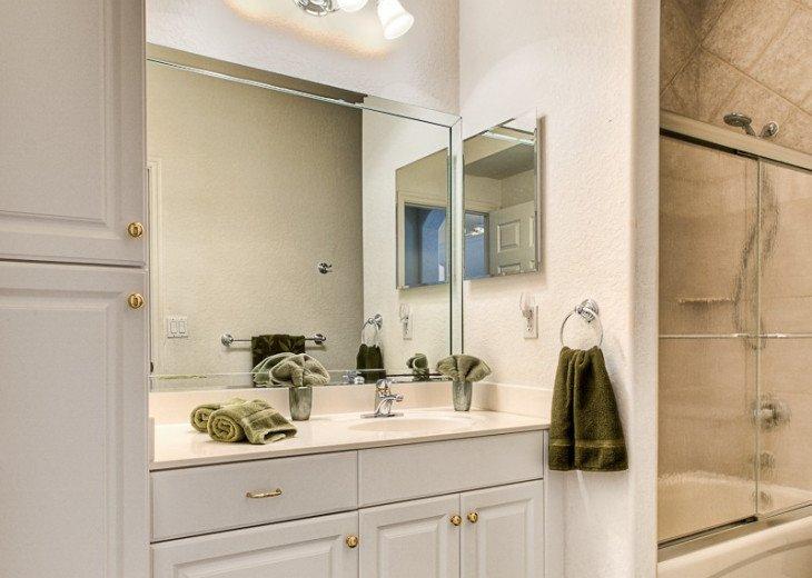 2. bathroom (sink, shower/bath tub, toilet)