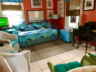 Trundle bed in cottage living room