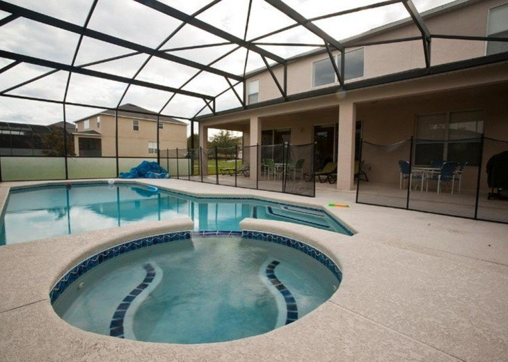 SW facing backyard private pool with safty net