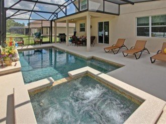 Private heated pool and hot tub