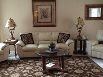"Living room with 50"" HDTV and comfortable seating"