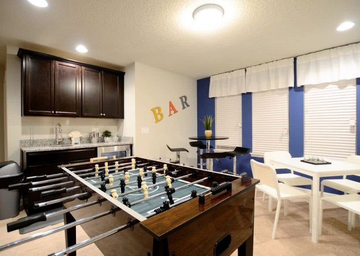 Foosball table and wet bar