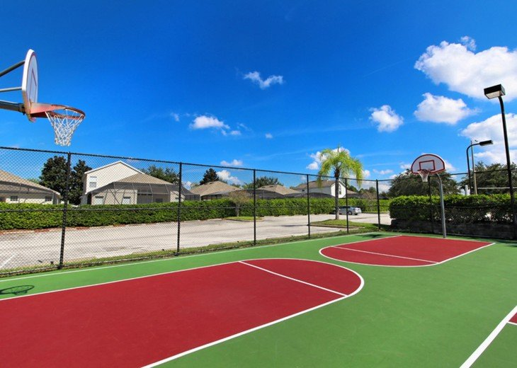 Basketball courts are also lit at night .