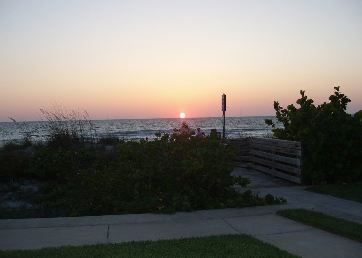 Sunset, from our patio, with immediate access to beach!