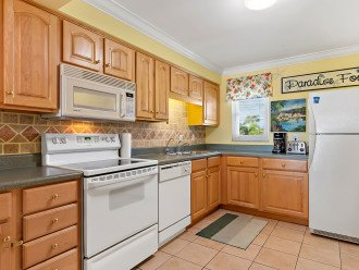 The fully stocked kitchen has everything you need to cook vacation sized meals