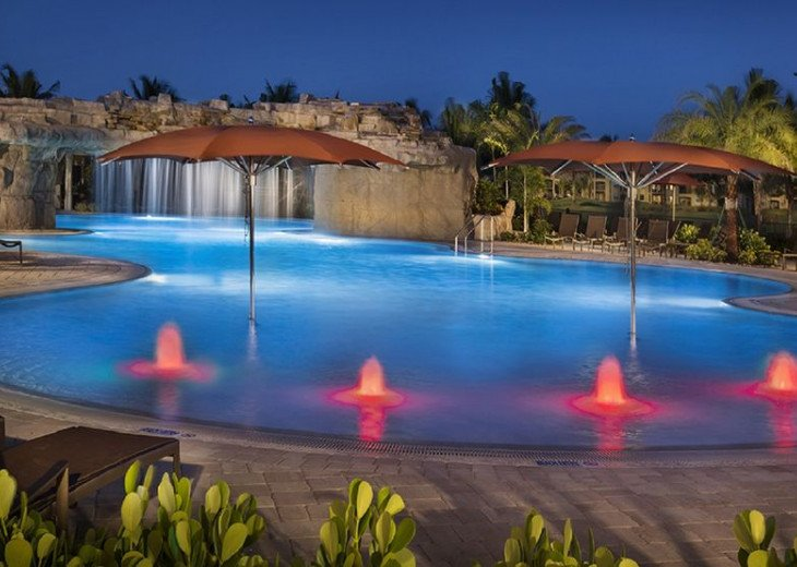 Night resort pool