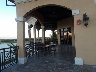 Outdoor seating at clubhouse