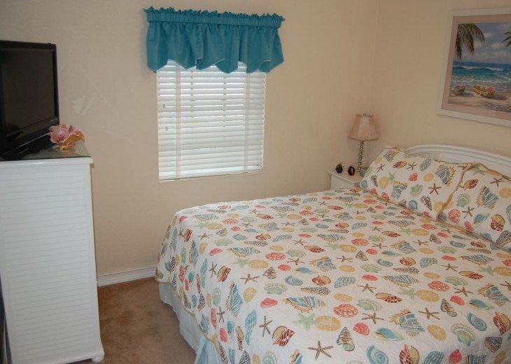 King Bedroom Upstairs with Flatscreen TV