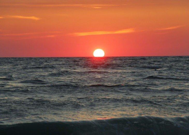 Sunset at the Beach across Steet