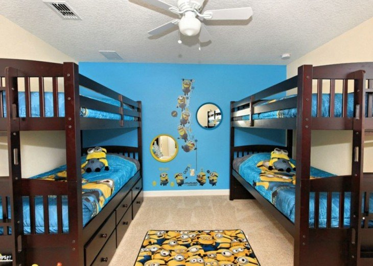 Themed bedroom with 2 bunk beds and trundle bed