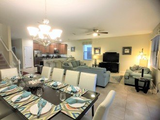 Open concept dining, living room with fully functional kitchen.