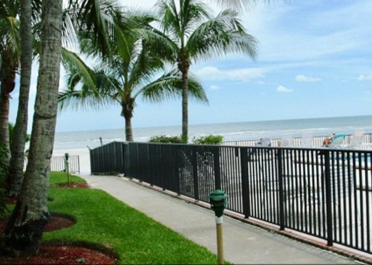 One flight of steps down to the beach and pool. 30 seconds from the condo door!