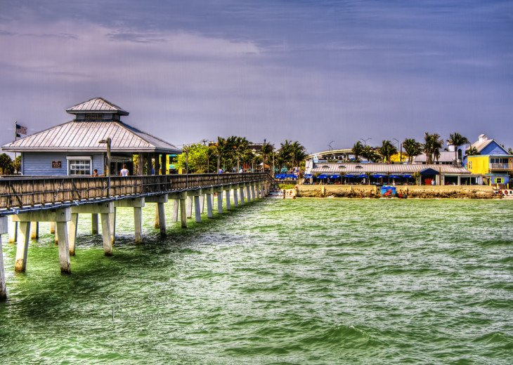 View of Times Square from the iconic Fort Myers Beach Pier.