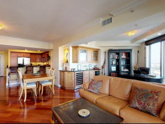 "Open Living-Dining-Bar-Study Area (60"" Flat TV & 2 Wine Fridges)"