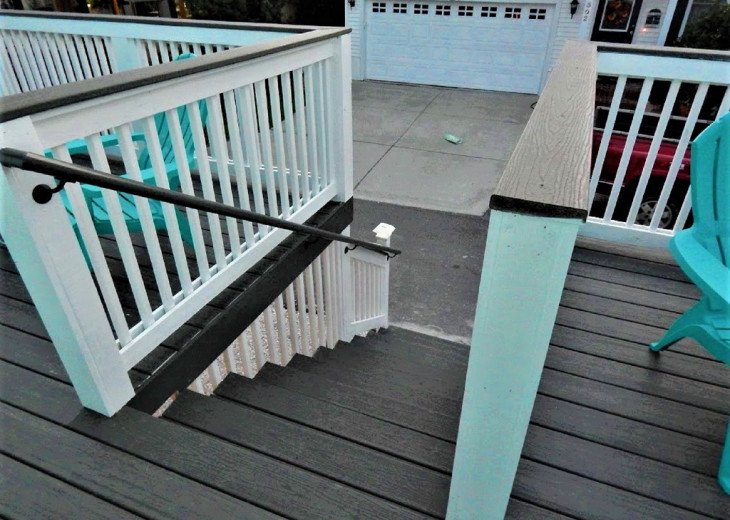 View of Back Deck Stairway...steps from the Beach