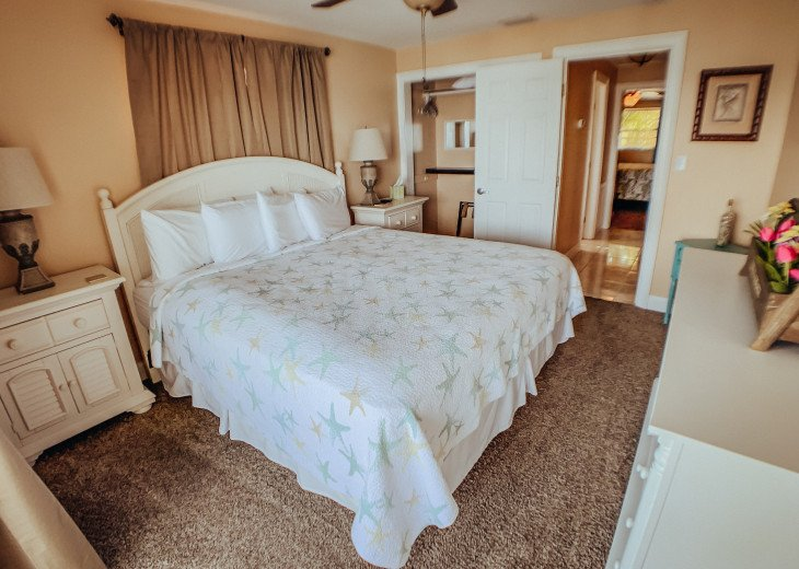 Master bedroom, king size bed, ceiling fan with TV