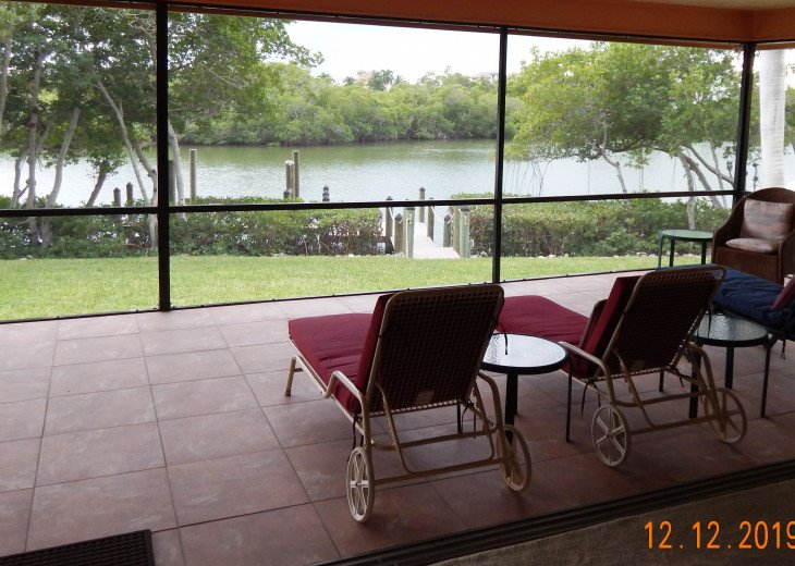 view from living room of lanai and Estero Bay