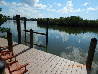 private boat dock on Estero Bay