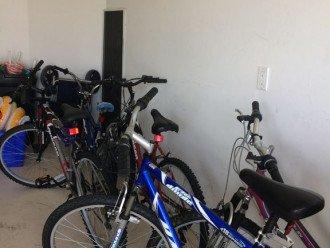 5 bikes of various sizes