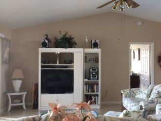 Entertainment Center with Large HD Flat Screen TV & Sony Stereo System to lanai