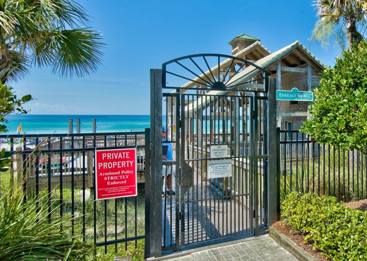 Emerald Shores Private beach pavilion with restrooms, bar-grill and beach svc.