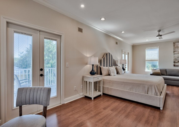 3rd Floor King Master Suite with Queen Futon sleeper. Attached bath.