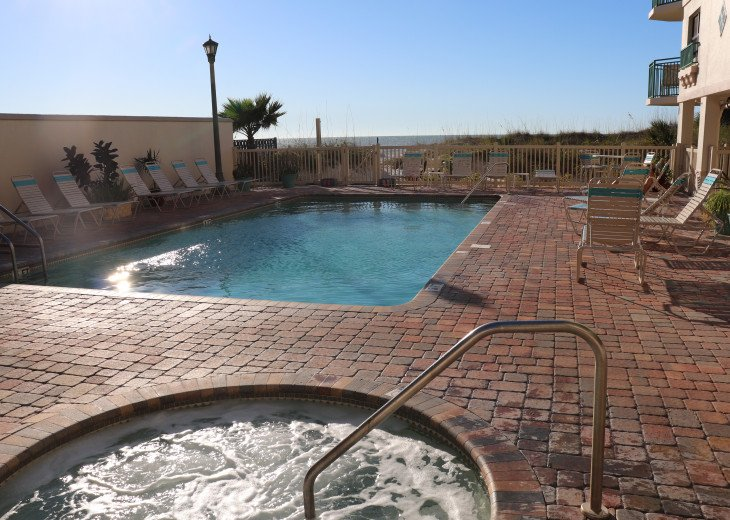 hot tub and heated pool right off the beach