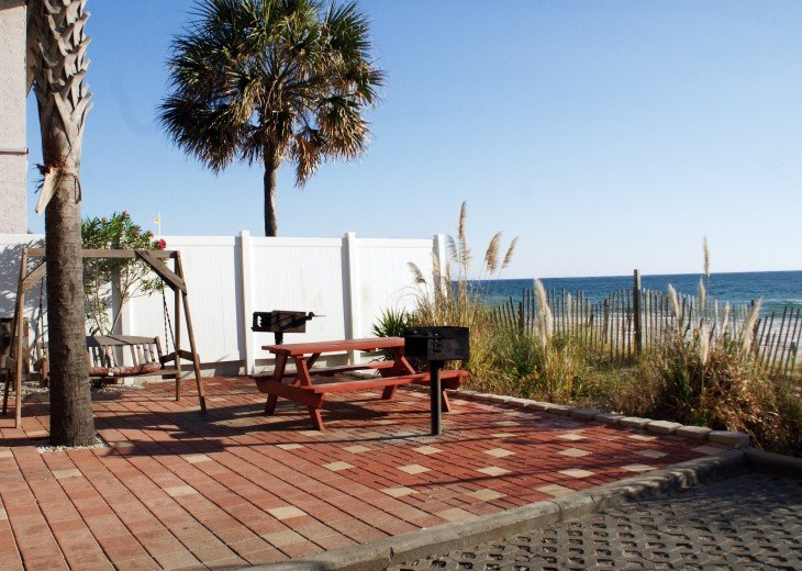 Beach side grills and picnic area