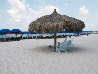 INCLUDED- 2 beach chairs and 1 umbrella set up daily March 1-Oct 30