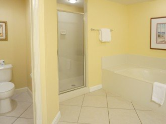 Master bath, jetted tub, double sink, shower and toilet room