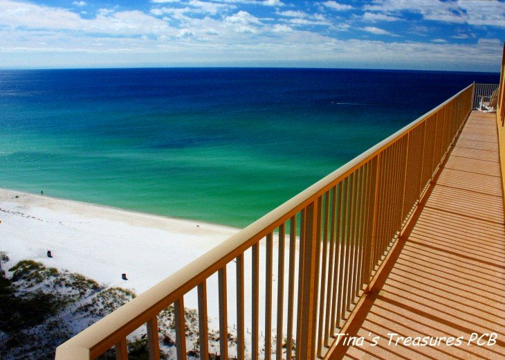 View looking at Gulf of Mexico from our xlarge 719 sq wrap around balcony