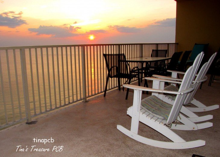View at sunset looking Gulf of Mexico from our large 719 sq wrap around balcony