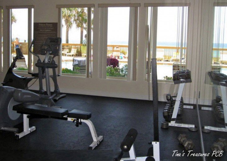 Fitness Center overlooking pool, beach and Gulf