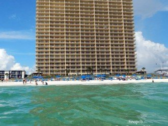 View of condo building from the Gulf of Mexico GC 1401