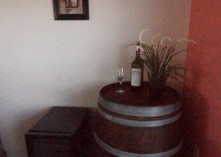 Real wine barrel decor with wine cooler
